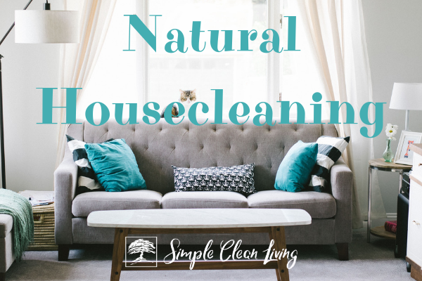 "Picture of a living room with the blog post title ""Natural Housecleaning"""