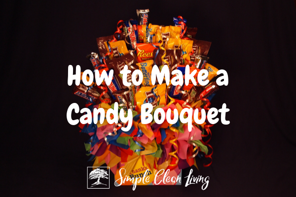"A picture of a candy bouquet and the blog post title ""How to Make a Candy Bouquet"""