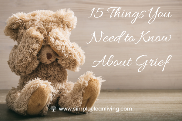 A brown teddy bear holding his hands over his eyes with the title 15 things you need to know about grief