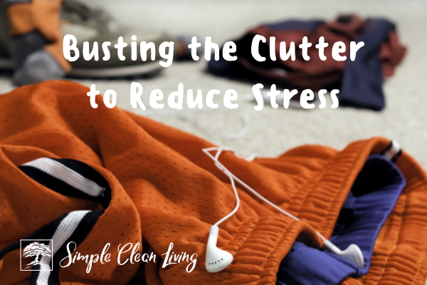 "Picture of clothes cluttering the floor with the blog post title ""Busting the Clutter to Reduce Stress"""