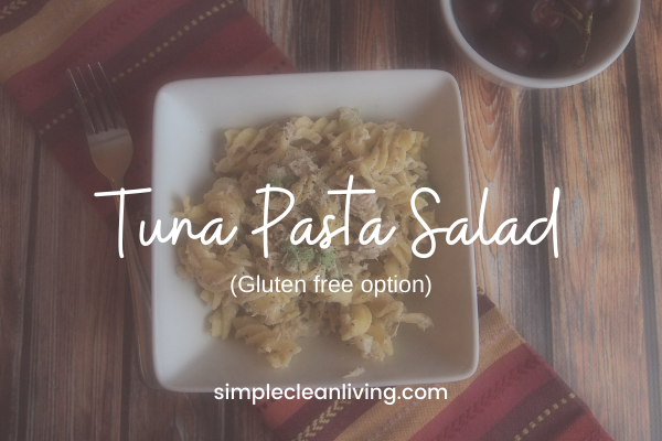 white bowl filled with tuna pasta salad