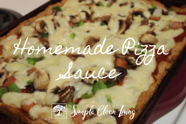 "A picture of a pizza and the blog post title ""Homemade Pizza Sauce"""