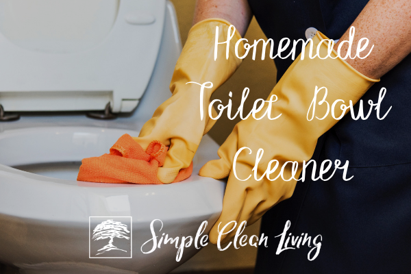 "Picture of a person wearing rubber gloves, cleaning a toilet and the blog post title ""Homemade Toilet Bowl Cleaner"""