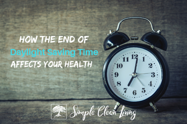"A picture of an alarm clock with the blog post title ""How the End of Daylight Savings Time Affects Your Health"""