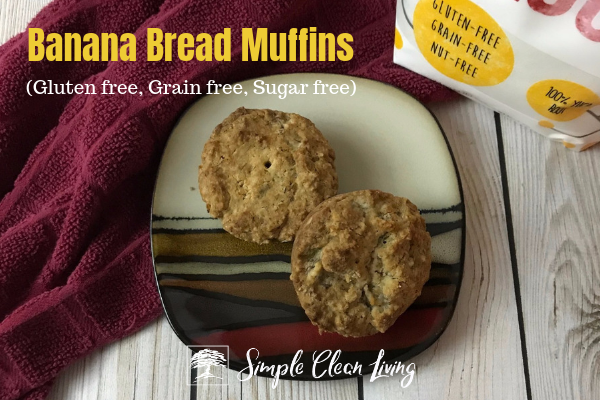 "A picture of two muffins on a plate with the blog post title ""Banana Bread Muffins, gluten free, grain free, sugar free"""