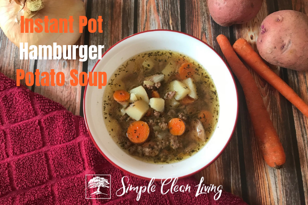"A picture of a bowl of soup with the blog post title ""Instant Pot Hamburger Potato Soup"""