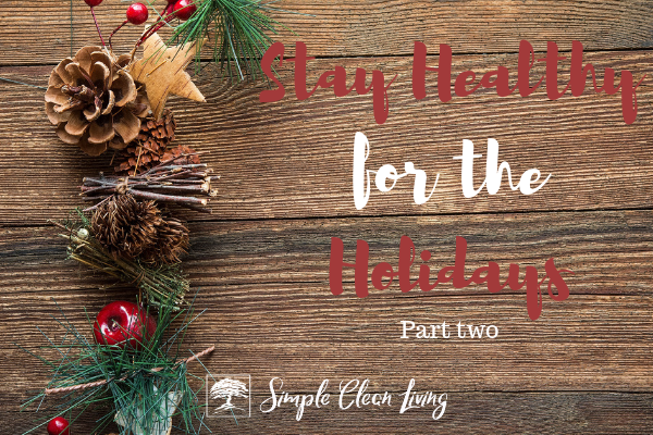 "A picture of Christmas garland with the blog post title ""Stay Healthy for the Holidays Part Two"""