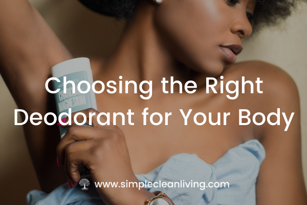 """A picture of a woman putting on deodorant with the blog post title """"Choosing the right deodorant for your body"""""""