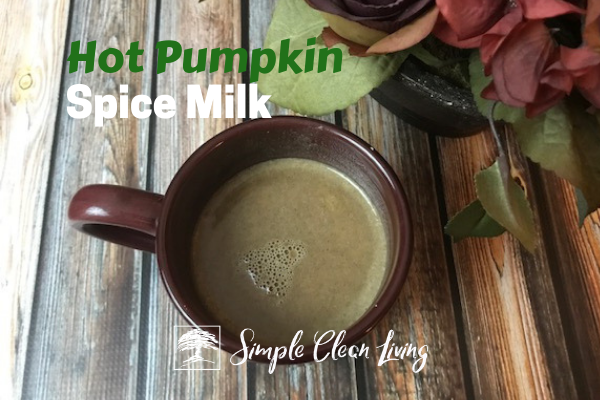 "A picture of a mug with beverage in it and the blog post title ""Hot Pumpkin Spice Milk"""